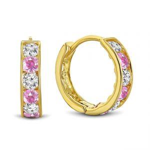 Juwelier Emo - 14 Karaat Geelgouden oorbellen met roze en transparante Zirkonia's - 12 mm