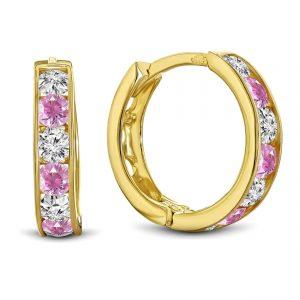 Juwelier Emo - 14 Karaat Geelgouden oorbellen met roze en transparante Zirkonia's - 14 mm