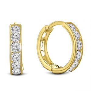 Juwelier Emo - 14 Karaat Geelgouden oorbellen met transparante Zirkonia's - 12 mm
