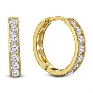 Juwelier Emo - 14 Karaat Geelgouden oorbellen met transparante Zirkonia's - 14 mm