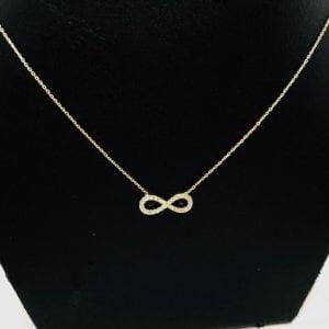 14 Karaat Geelgouden Ketting met Infinity Hanger - 42 cm
