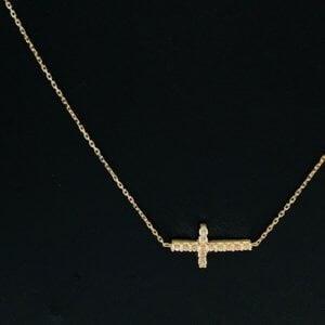 14 Karaat Geelgouden Ketting met Kruis Hanger & Zirkonia's - LARGE - 42 cm