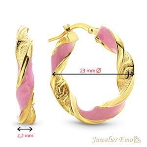 Geelgouden Roze wokkel oorbellen 14 karaat - Meandros bewerking - 23mm