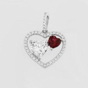 3x hart bedel incl een rode steen