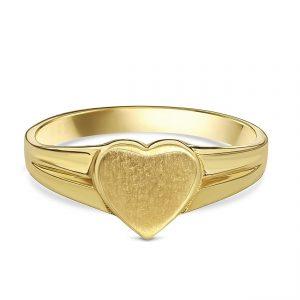 Juwelier Emo - 14 Karaat Geelgouden Hart Zegelring met Dove glans - Kids
