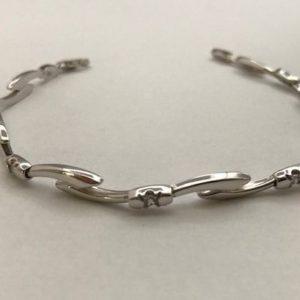 14KT Witgouden Fantasie armband met Zirkonia's