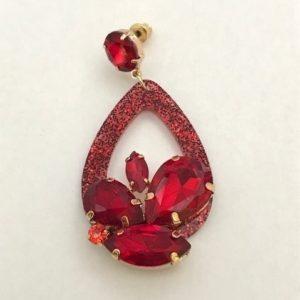 Yehwang oorbellen flower rood 10eu