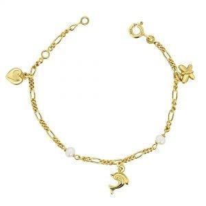 Juwelier Emo - 14 Karaat Geelgouden Kinderarmband met een Hart, Vlindertje & Dolfijn bedel inclusief Parels
