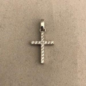 Dunne Zilveren Kruis met Zirkonia stenen 35eu