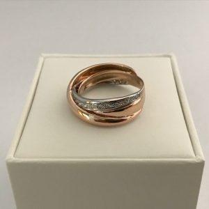 Roségouden 14KT ring 0.19ct