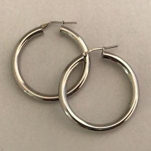 Zilveren oorbellen 3cm dia 47,50eu