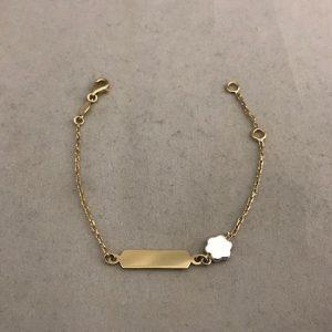 Geelgouden armband met bloem hanger 14KT 149eu