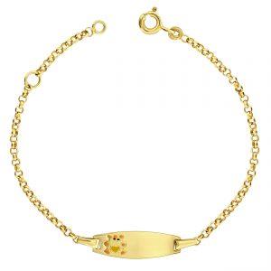 Juwelier Emo - 14 Karaat Geelgouden Kinder Plaatarmband met Beertje - 13 - 15 cm