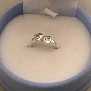 KIDS RING 2x Hart met een roze en witte steen (925) 12.95