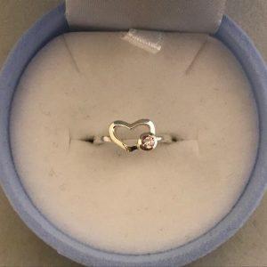 KIDS Ring hartvorm met een roze steen (925) 9.95