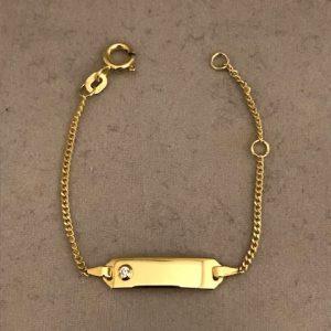 Geelgouden Zirkonia armband (rattenstaart) met steen en een plaat 14KT 129eu