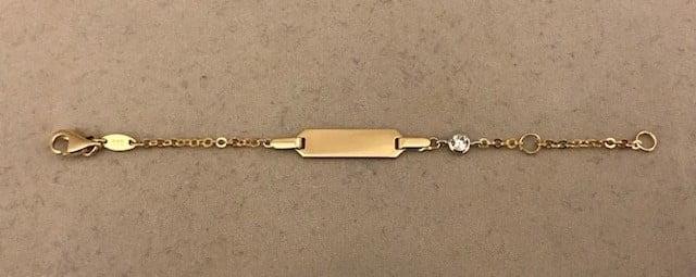 Geelgouden Zirkonia armband (rattenstaart) steen met een plaat 14KT 189eu