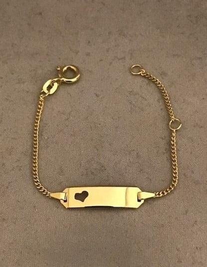 Geelgouden fantasie armband (gourmet) met hart plaat14KT 119eu