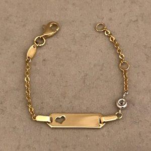 Geelgouden fantasie armband met hart plaat en zirkonia steen 14KT 189eu