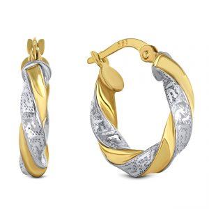 Juwelier Emo - 14 Karaat Bicolor Meandros wokkel oorbellen - 17 mm