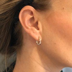 Juwelier Emo - 14 Karaat Bicolor wokkel oorbellen - 15 mm MODEL