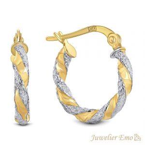 Juwelier Emo - 14 Karaat Bicolor wokkel oorbellen - 15 mm