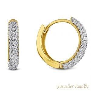 Juwelier Emo - 14 Karaat Geelgouden creolen bezet met Zirkonia's - 12 mm