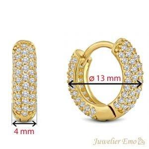 Juwelier Emo - 14 Karaat Geelgouden creolen bezet met Zirkonia's - 13 mm