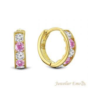 14 Karaat Gouden Kinderoorbellen meisje met Roze Zirkonia stenen - KIDS - 10 mm