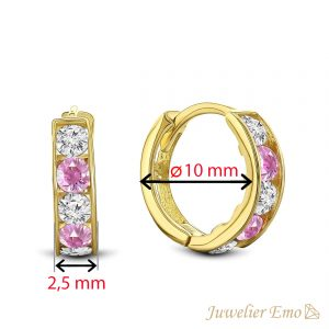 Juwelier Emo - 14 Karaat Geelgouden oorbellen met roze en transparante Zirkonia's - 10 mm