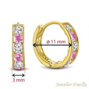 Juwelier Emo - 14 Karaat Geelgouden oorbellen met roze en transparante Zirkonia's - 11 mm