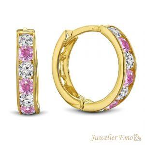 Juwelier Emo - 14 Karaat Geelgouden oorbellen met roze en transparante Zirkonia's - 13 mm