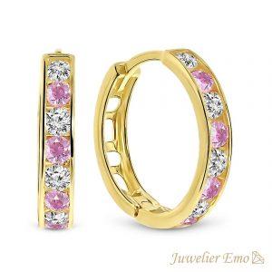 Juwelier Emo - 14 Karaat Geelgouden oorbellen met roze en transparante Zirkonia's - 15 mm