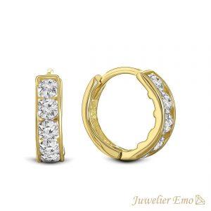 Juwelier Emo - 14 Karaat Geelgouden oorbellen met transparante Zirkonia's - 10 mm