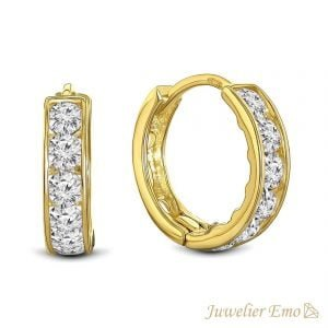 Juwelier Emo - 14 Karaat Geelgouden oorbellen met transparante Zirkonia's - 11 mm