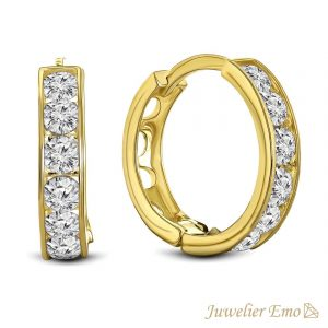 14 Karaat Gouden Kinderoorbellen meisje met Zirkonia stenen - KIDS - 13 mm