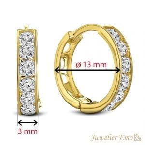 Juwelier Emo - 14 Karaat Geelgouden oorbellen met transparante Zirkonia's - 13 mm