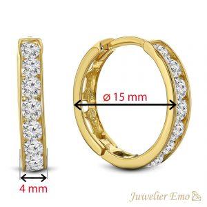 Juwelier Emo - 14 Karaat Geelgouden oorbellen met transparante Zirkonia's - 15 mm