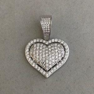 Zilveren hart inclusief zirkonia stenen 75eu