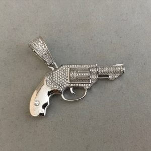 Zilveren pistool inclusief zirkonia stenen 79eu