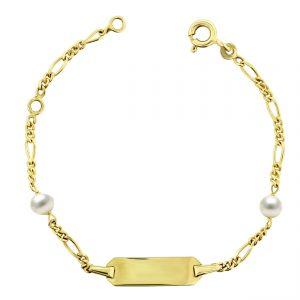 Juwelier Emo - 14 Karaat Geelgouden Figaro Kinderarmband met Witte Parels - 11 - 13 cm