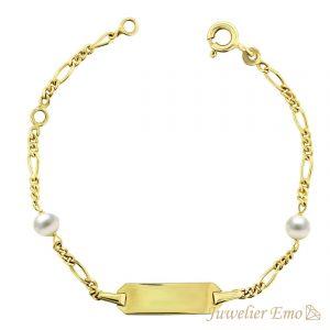 Juwelier Emo - 14 Karaat Geelgouden Figaro Kinderarmband met Witte Parels