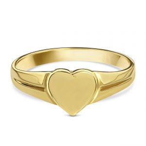 Juwelier Emo - 14 Karaat Geelgouden Hart Zegelring met glans - Kids