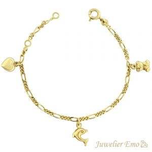 Juwelier Emo - 14 Karaat Geelgouden Kinderarmband met een Hart, Beertje & Dolfijn bedel