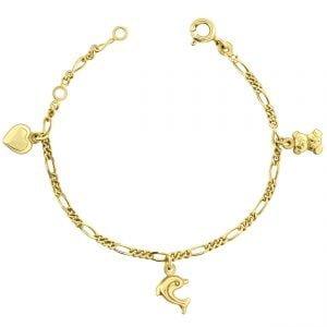 Juwelier Emo - 14 Karaat Geelgouden Kinderarmband met een Hart, Beertje & Dolfijn bedel - 11 - 13 cm