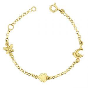 Juwelier Emo - 14 Karaat Geelgouden Kinderarmband met een Hart, Vlindertje & Dolfijn bedel - 11 - 13 cm