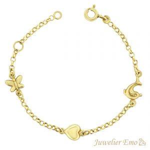 Juwelier Emo - 14 Karaat Geelgouden Kinderarmband met een Hart, Vlindertje & Dolfijn bedel