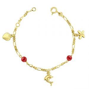 Juwelier Emo - 14 Karaat Geelgouden Kinderarmband met een Hart, Vlindertje & Dolfijn bedel inclusief Rode Parels - 13 - 15 cm