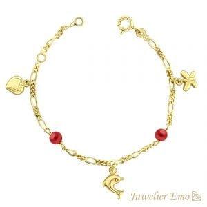 Juwelier Emo - 14 Karaat Geelgouden Kinderarmband met een Hart, Vlindertje & Dolfijn bedel inclusief Rode Parels