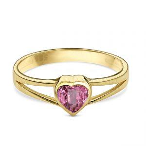 Juwelier Emo - 14 Karaat Geelgouden zegelring met een roze Zirkonia - Kids